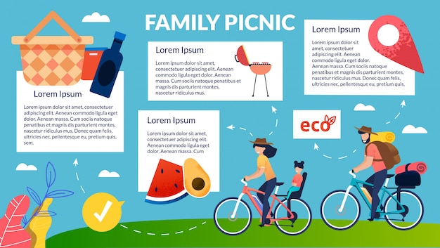 Helle fahne eco produkte für familien-picknick.