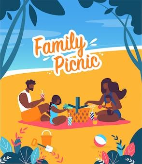 Helle fahnen-familien-picknick-beschriftungs-karikatur