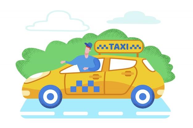 Helle fahnen-taxi-passagierservice-karikatur.