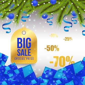 Helle fahnendesign des großen weihnachtsverkaufs