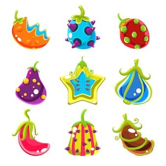 Helle fantasie-früchte, illustration