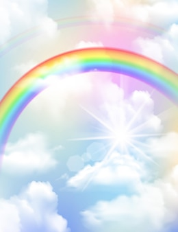 Helle farbige regenbogenwolken und realistische zusammensetzung des himmels