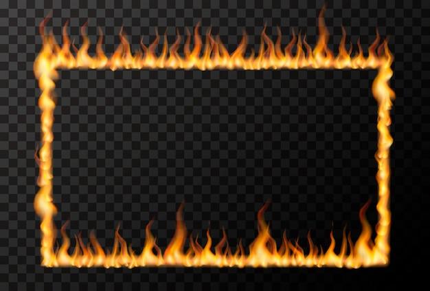 Helle feuerflamme in rechteckiger rahmenform auf transparent