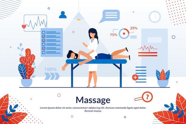 Helle flieger-aufschrift-massage-karikatur flach.