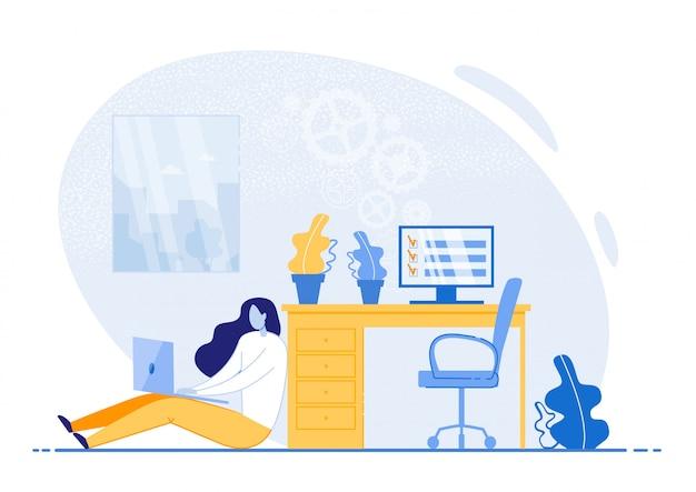 Helle flyer-tipps zur effizienz des zeitmanagements. mädchen, das auf boden im büro sitzt und am laptop arbeitet.