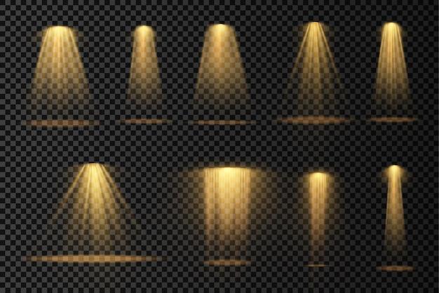 Helle gelbe beleuchtung mit spotlight-projektor-lichteffekten