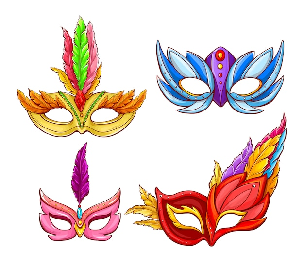 Helle gesichtsmasken für venezianische karneval