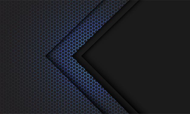Helle hellgraue pfeilrichtung des abstrakten blauen sechsecknetzes mit modernem futuristischem technologiehintergrund des leerraums