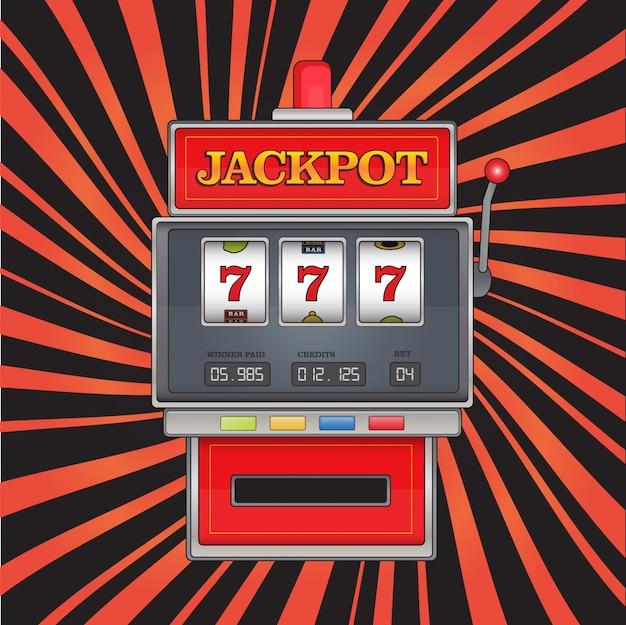 Helle illustration auf jackpot-thema. roter spielautomat mit drei siebenen auf abstraktem gestreiftem hintergrund.
