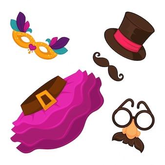 Helle karnevalskostümelemente für männer und frauen