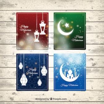 Helle karten des islamischen neuen jahres
