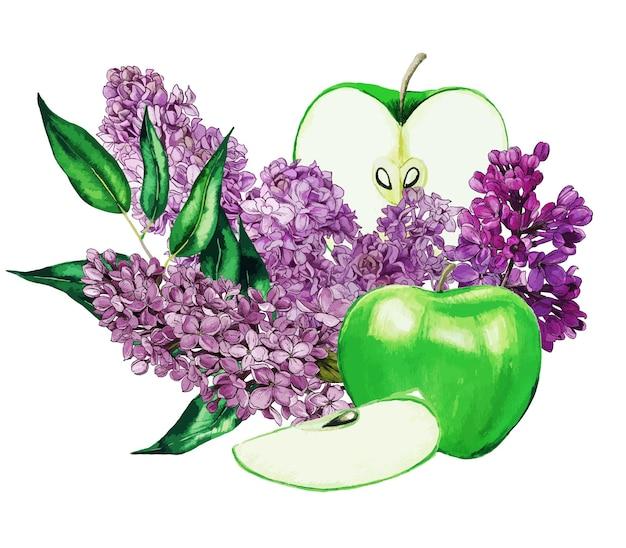 Helle komposition mit grünen äpfeln und flieder