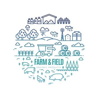 Helle ländliche landschaft und landwirtschaft, die dünne linie ikonen - bioproduktaufkleberkonzept bewirtschaftet