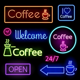 Helle leuchtreklamen für sie cafe, bar. kaffee, offen, willkommen. vektorillustration