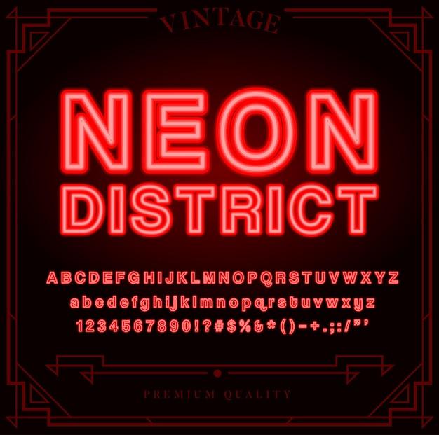 Helle neon-alphabet-buchstaben, zahlen und symbole melden sich im vektor an. nachtshow.