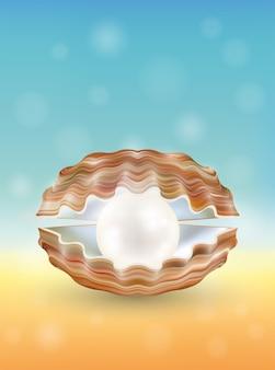 Helle perle in einer geöffneten muschel