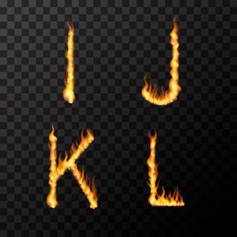 Helle realistische feuerflammen in ijkl-buchstabenform, heißes schriftkonzept auf transparent