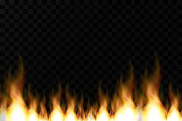 Helle realistische feuerflammen mit transparenz lokalisiert auf kariertem vektorhintergrund. spezielle lichteffektkollektion für design und dekoration