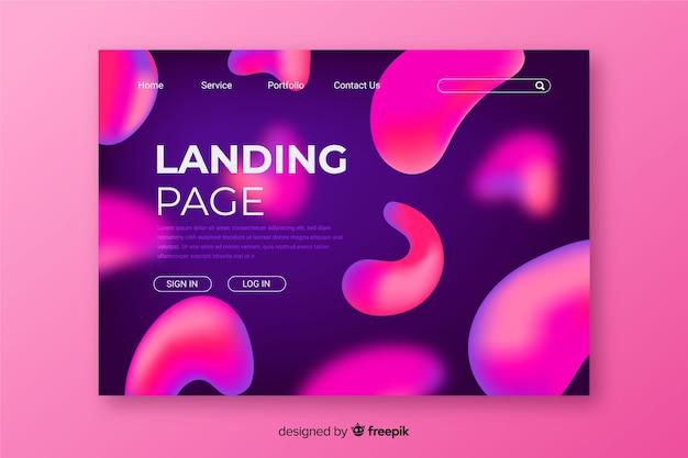 Helle rosa flüssige landingpage