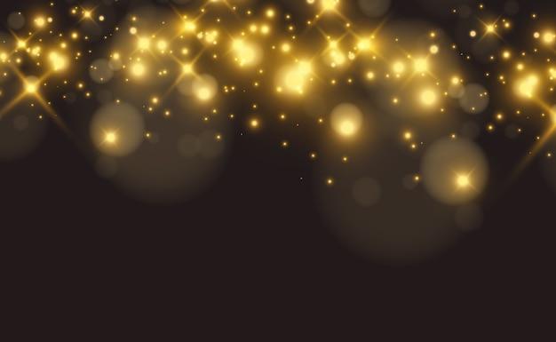 Helle schöne goldene funken auf einem transparenten hintergrund.