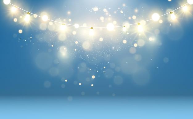 Helle, schöne lichter, designelemente. girlanden, leichte dekorationen.