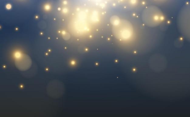 Helle schöne sternenillustration eines lichteffekts auf transparentem