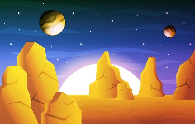 Helle sonne planet stern himmel weltraum universum exploration illustration