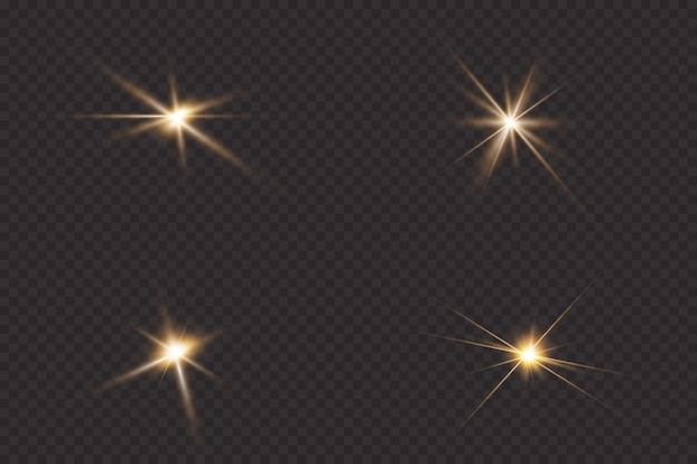 Helle sonne platzte helle sterne, auf einem transparenten hintergrund.