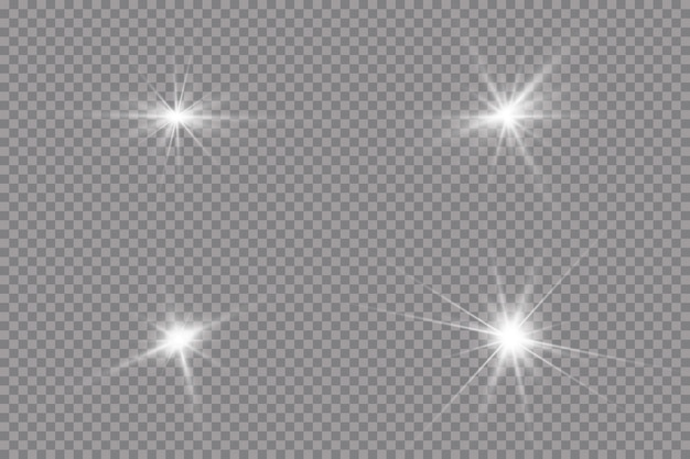 Helle sonne platzte leuchtender stern sonnenstrahlen isolierten transparenten hintergrund