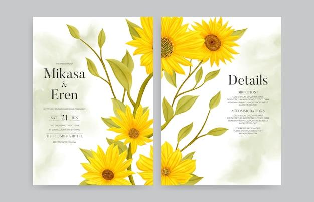 Helle sonnenblumenhochzeitseinladungskartenschablone