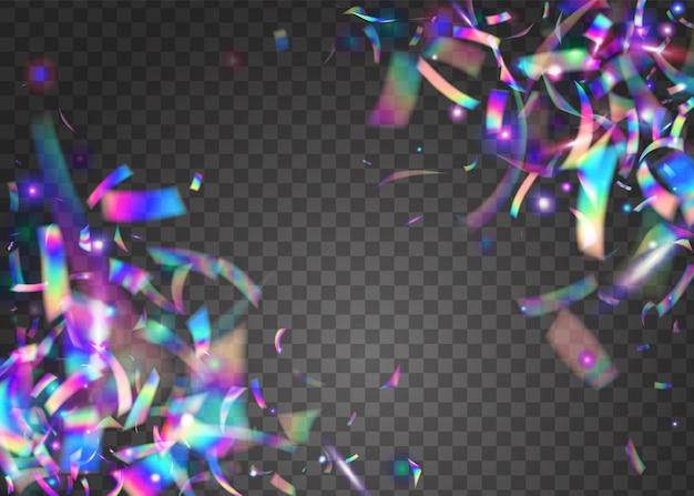Helle textur. urlaub kunst. fallender hintergrund. digitale folie. lila blur-effekt. hologramm konfetti. hintergrundbild von disco-weihnachten. retro-explosion. blaulicht-textur