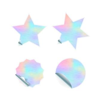 Helle trendige aufkleber mit hologrammmuster auf weiß