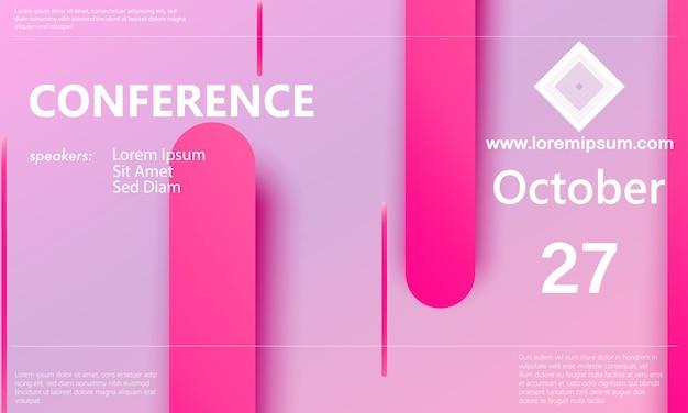 Helle und rosa abstrakte konferenzhintergrund-designvorlage