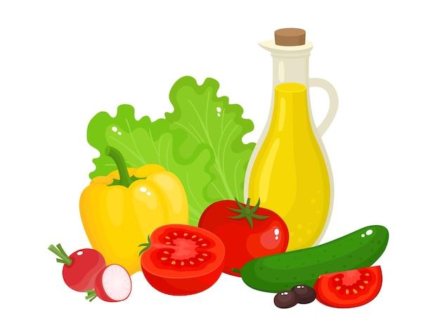Helle vektorillustration des bunten gemüses und des öls für salat. bio-gemüse der karikatur isoliert auf weißem hintergrund für zeitschriften, bücher, poster, karten, menü-cover, webseiten.