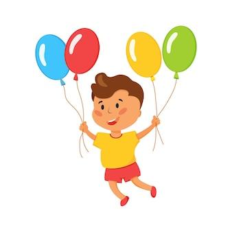 Helle vektorillustration eines glücklichen kindes mit luftballons