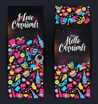 Helle vektorkarnevalsfahnen und -zeichen über karneval