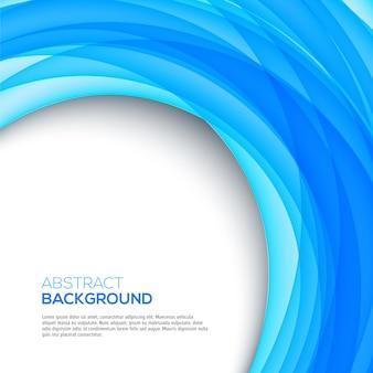 Heller abstrakter blauer strudel formt auf weißen hintergrund mit textschablone