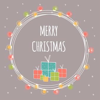 Heller abstrakter weihnachtshintergrund mit handgezeichneter beschriftung. winterferienillustration mit geschenken und girlanden. vorlage für dekoration, grußkarten, einladungen.