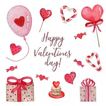 Heller aquarellsatz nette sachen für valentinstag