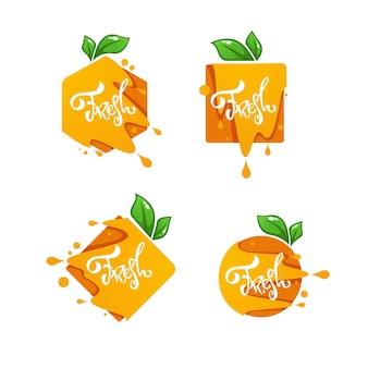 Heller aufkleber, emblem und logo für frischen orangensaft-geschmack