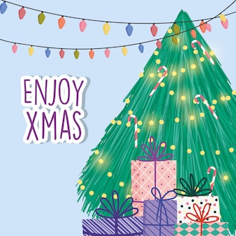 Heller baum beleuchtet feier der frohen weihnachten der geschenkboxen