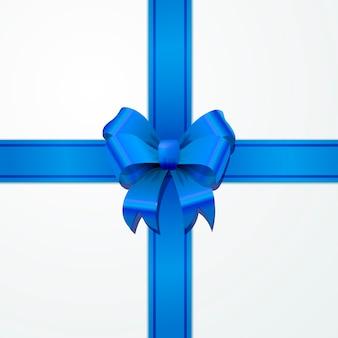 Heller blauer bogenknoten mit band mit schatten