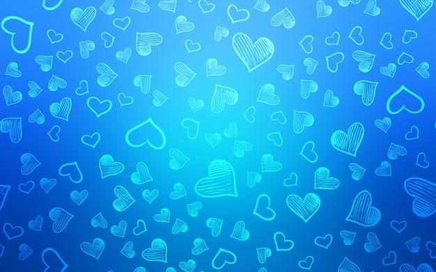 Heller blauer vektorplan mit süßen herzen