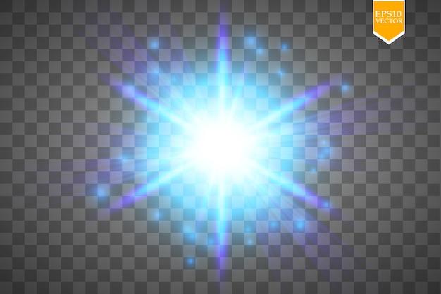 Heller digitaler stern auf dem transparenten hintergrund