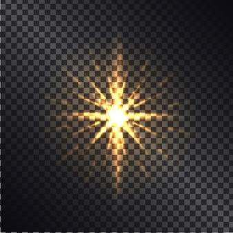 Heller goldener glänzender schein lokalisiert