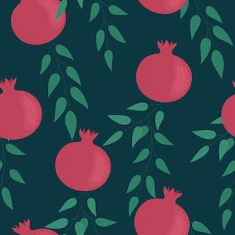 Heller granatapfel auf dunklem hintergrund nahtloses muster