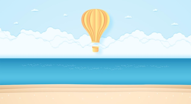 Heller heißluftballon, der über meer im blauen himmel und am strand fliegt, papierkunststil