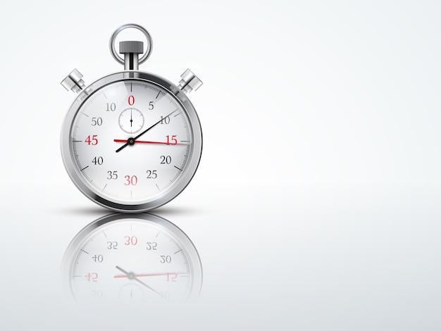 Heller hintergrund mit chronometer-stoppuhren. geschäfts- oder sportsymbol des timings. bearbeitbare illustration.