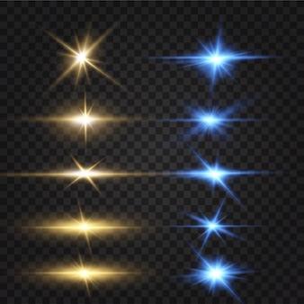 Heller leuchteffekt von blauen sternenlichteffektglitzernde ehredie sterne leuchten