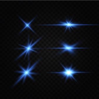 Heller leuchteffekt von blauen sternenlichteffektglitzernde ehredie sterne leuchtenlicht
